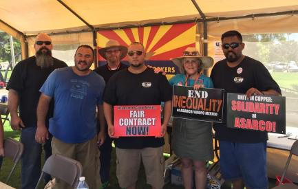 Standing here with Eduardo and other local Steelworkers. My Dad and my husband were both Steelworkers.