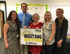 Seventh grade English teacher Wendy Nogami (second from right) invited me to shadow her for a day. I have a delightful experience, thanks to Wendy, Principal Chad Miller, the rest of the staff and the students. I was ver impressed with FWJH. Go, Mustangs. I am open to other school field trips, BTW.