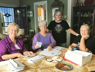 Post card party volunteers