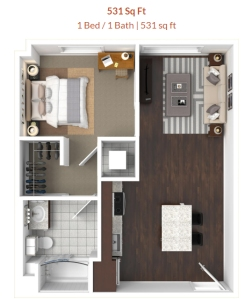 Cadence one bedroom apartment
